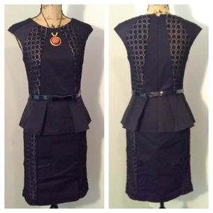 Nue by Shani black and lace illusion dress sz 4